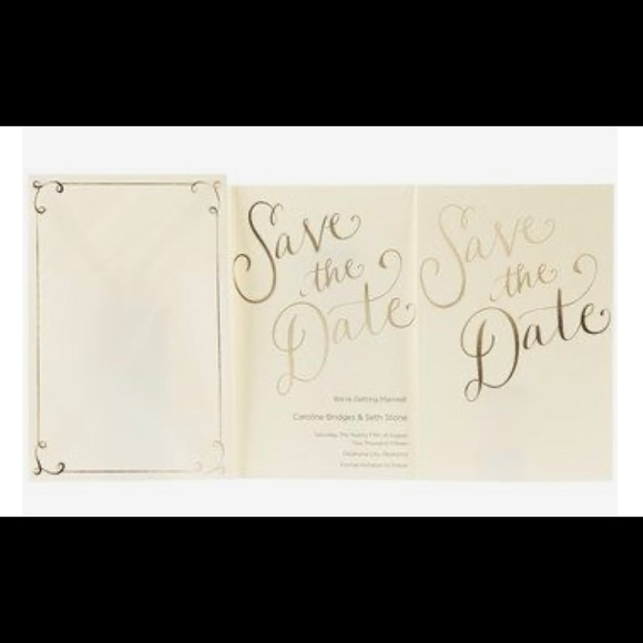 his and hers Other - Ivory and gold save the dates